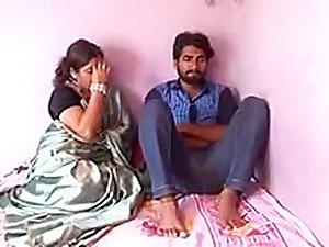 Satin silk saree aunty romance